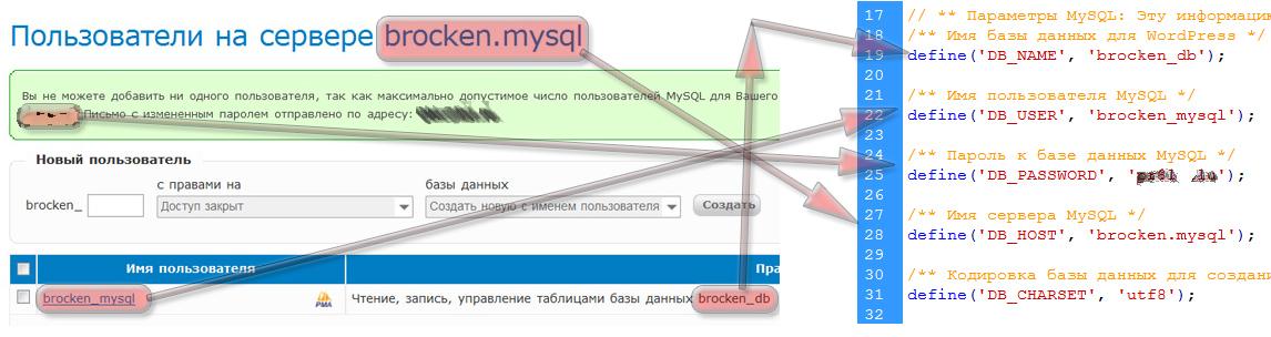Данные в файл wp-config.php
