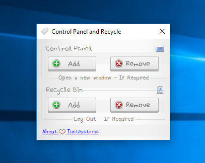 Control Panel and Recycle
