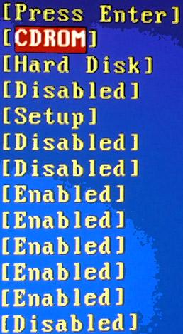 BIOS, выбор CDROM