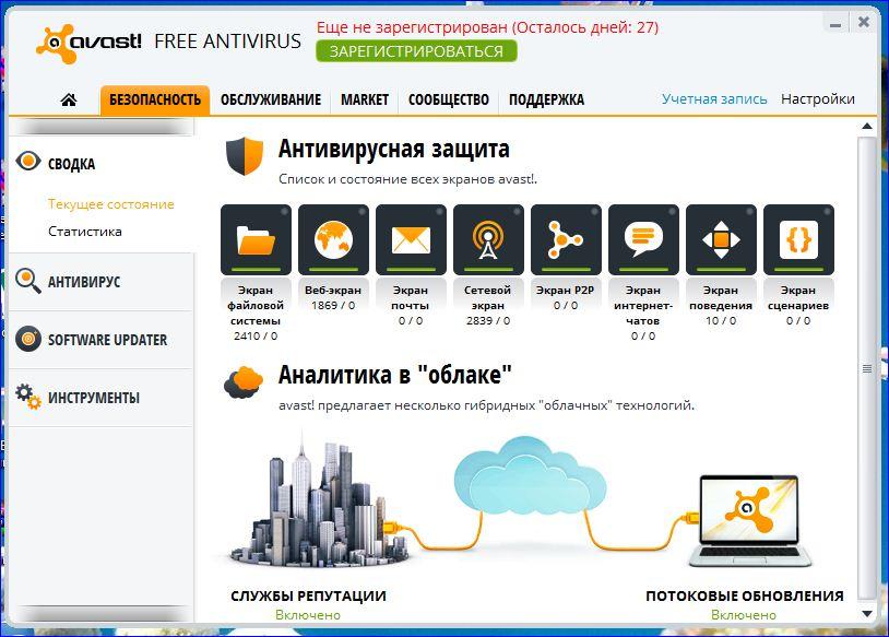 Экраны Avast