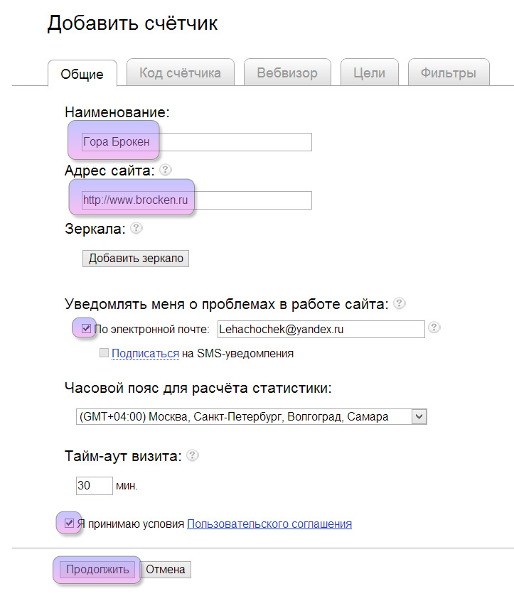 Yandex metrika site
