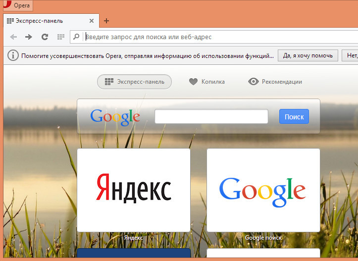 Google поиск в Opera