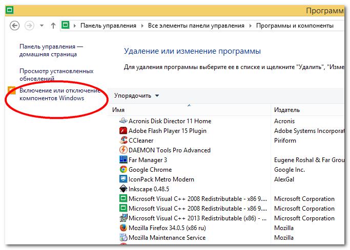 Компоненты Windows 8.1