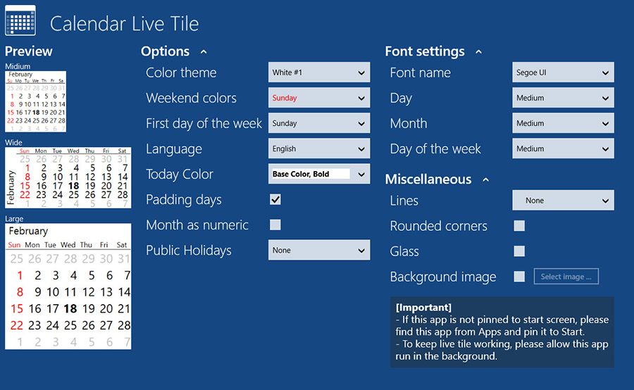 Calendar Live Tile