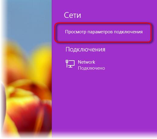 Опция просмотра параметров подключения