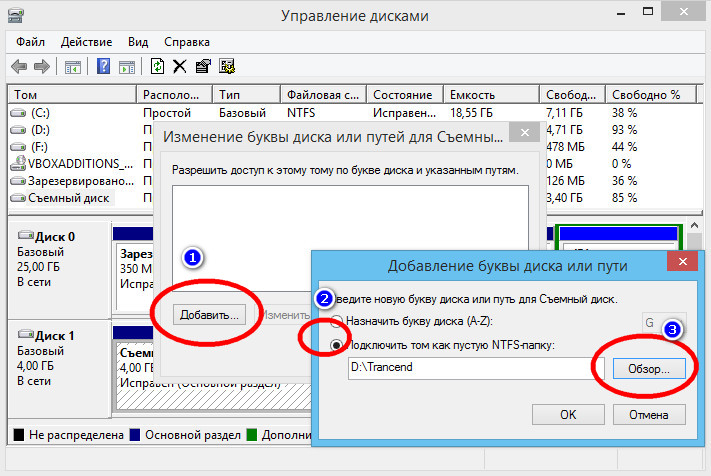 Подключить том как пустую NTFS-папку