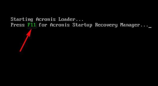 Окно загрузчика Acronis
