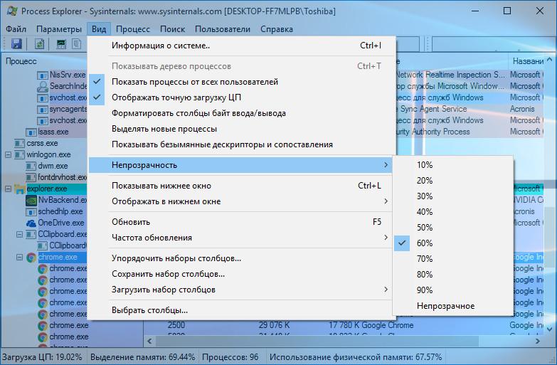 Окно программы Process Explorer
