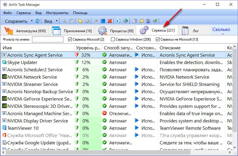 Диспетчер задач AnVir Task Manager