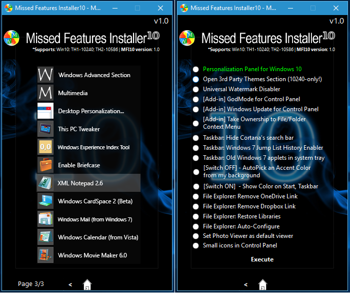 Missed Features Installer