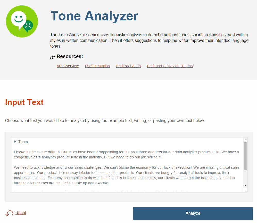 Tone Analyzer