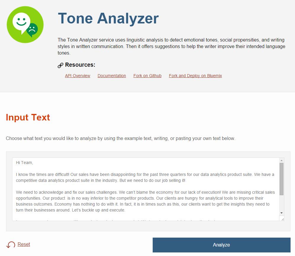 Tone Analyzer