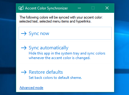 Accent Color Synchronizer