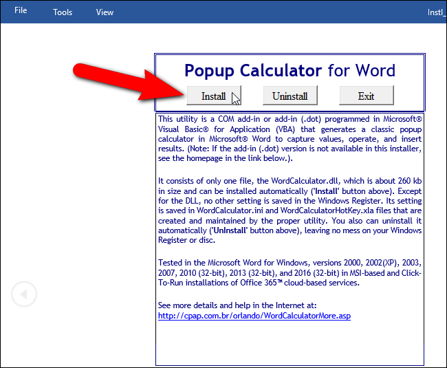 Popup Calculator for Word
