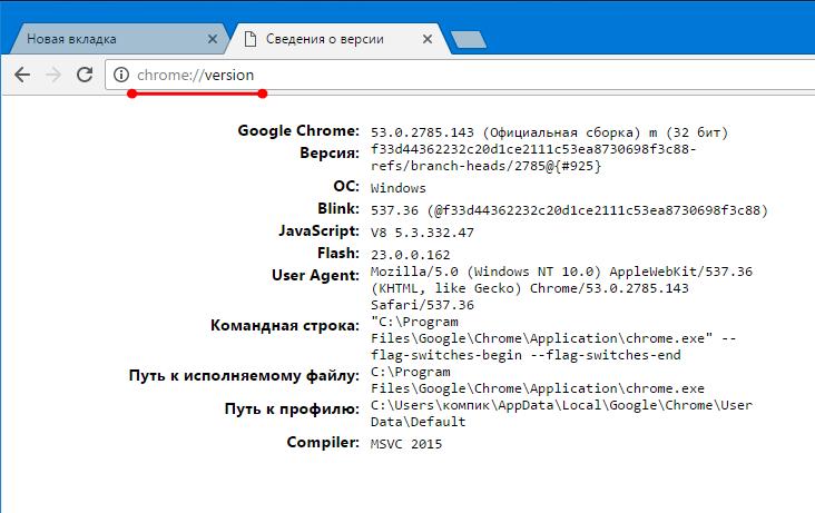 Текущая версия браузера