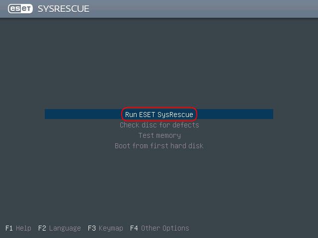 Run Eset SysRescue