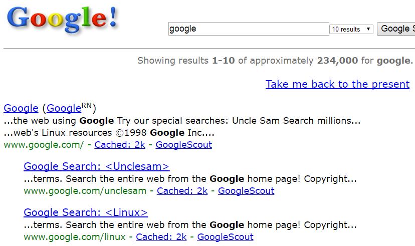 Google в 1998 году!