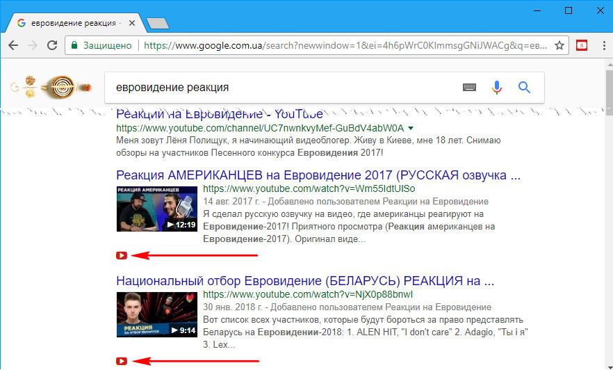 Просмотр видеороликов прямо в результатах выдач Google