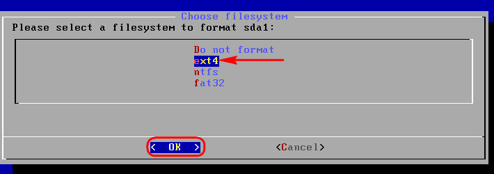 Форматируем раздел в ext4