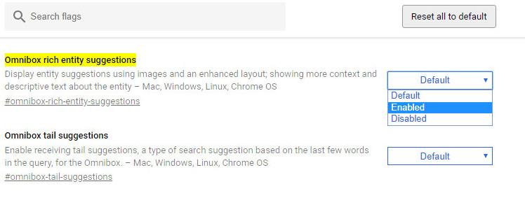 Omnibox rich entity suggestions