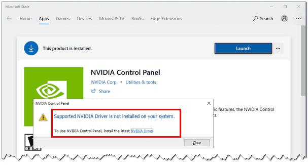 NVIDIA - сообщение об ошибке