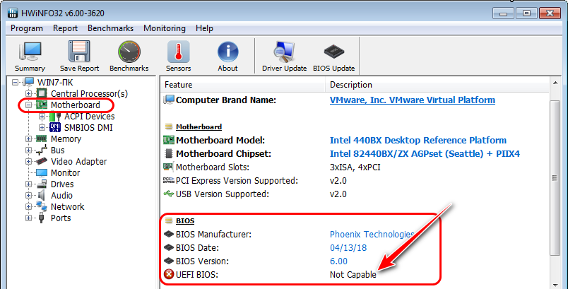 HWINFO - UEFI BIOS Not Capable