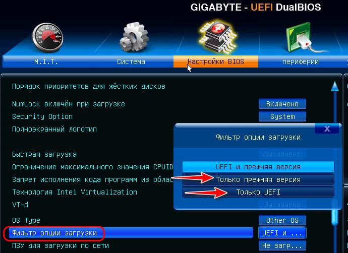 Режимы UEFI/Legacy