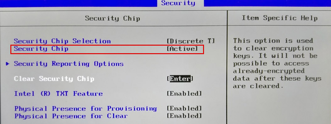BIOS - Clear Security Chip