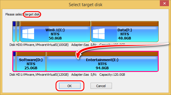 Select target disk