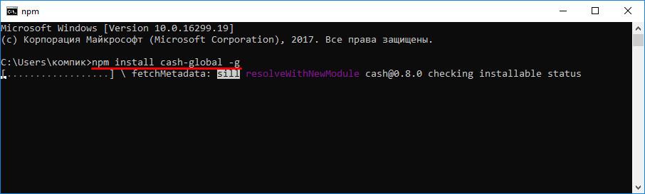 Npm install cash