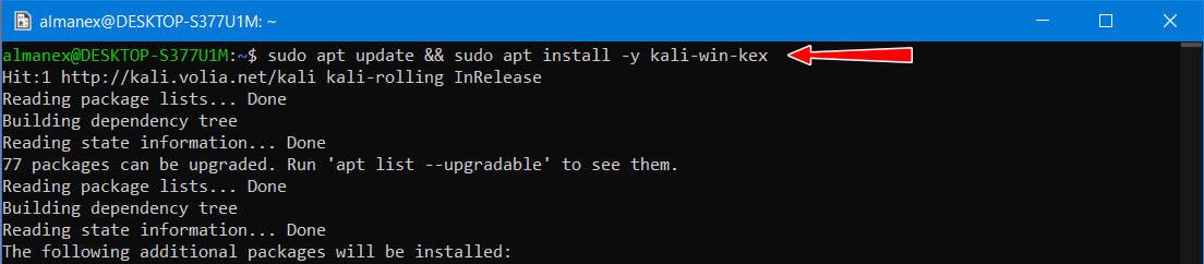 Apt install -y kali-win-kex