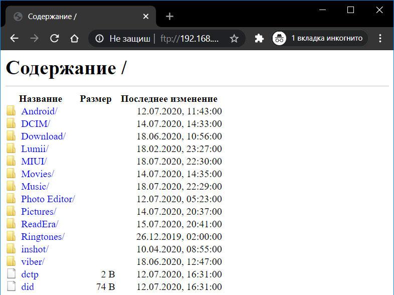 Содержимое FTP-сервера