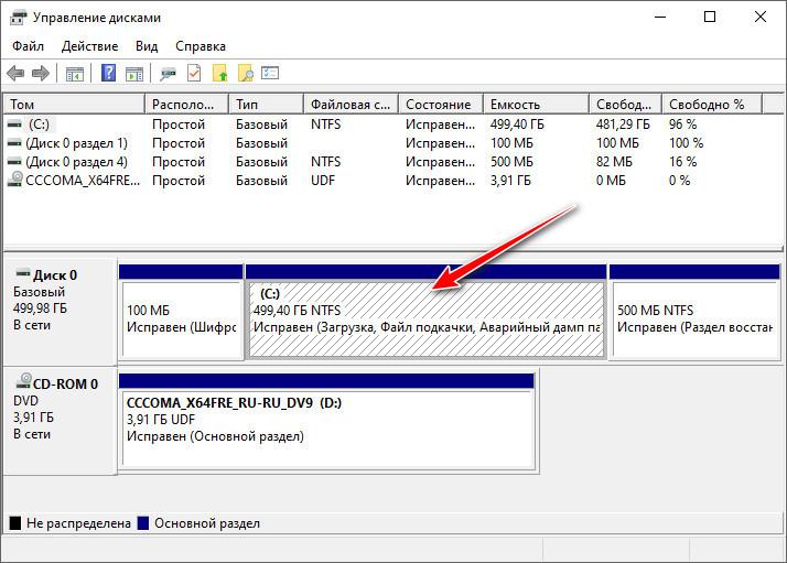 Управление дисками - диск C
