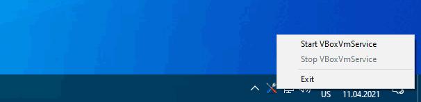 Меню значка VBoxVmService