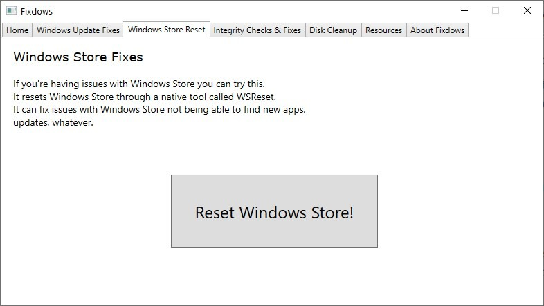 Windows Store Reset