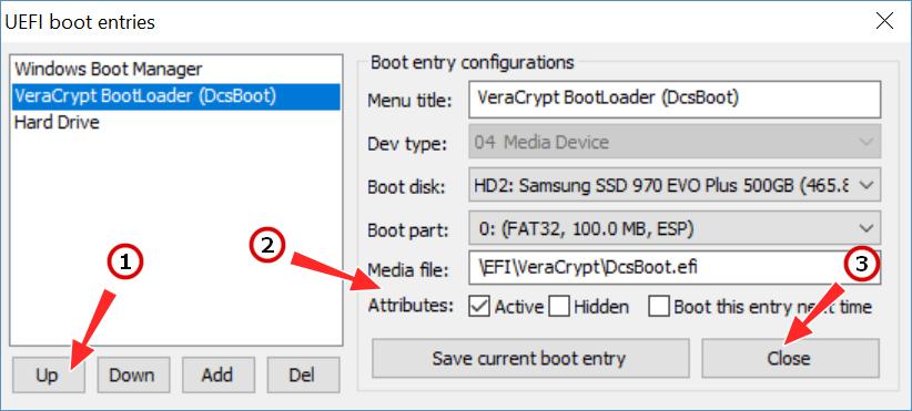 Edit boot entries