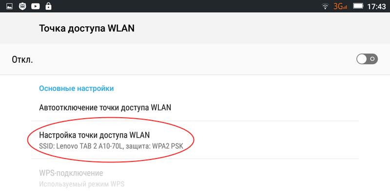 Настройка точки доступа WLAN