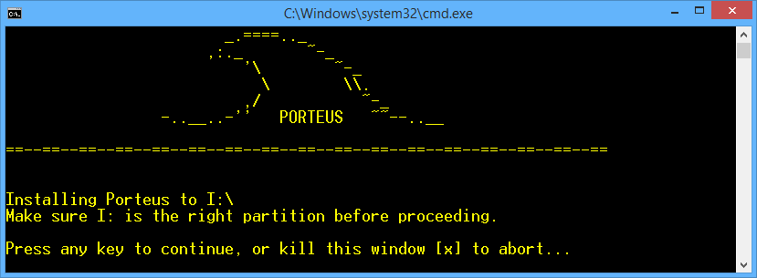 Porteus installer for Windows