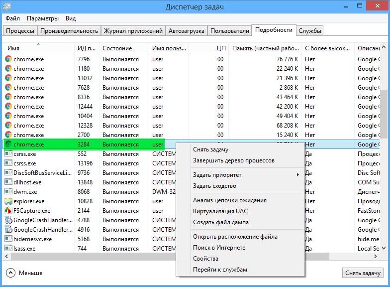 Диспетчер задач - Chrome