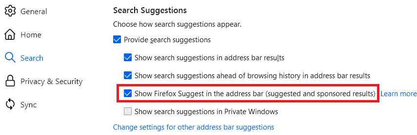 Show Firefox Suggest